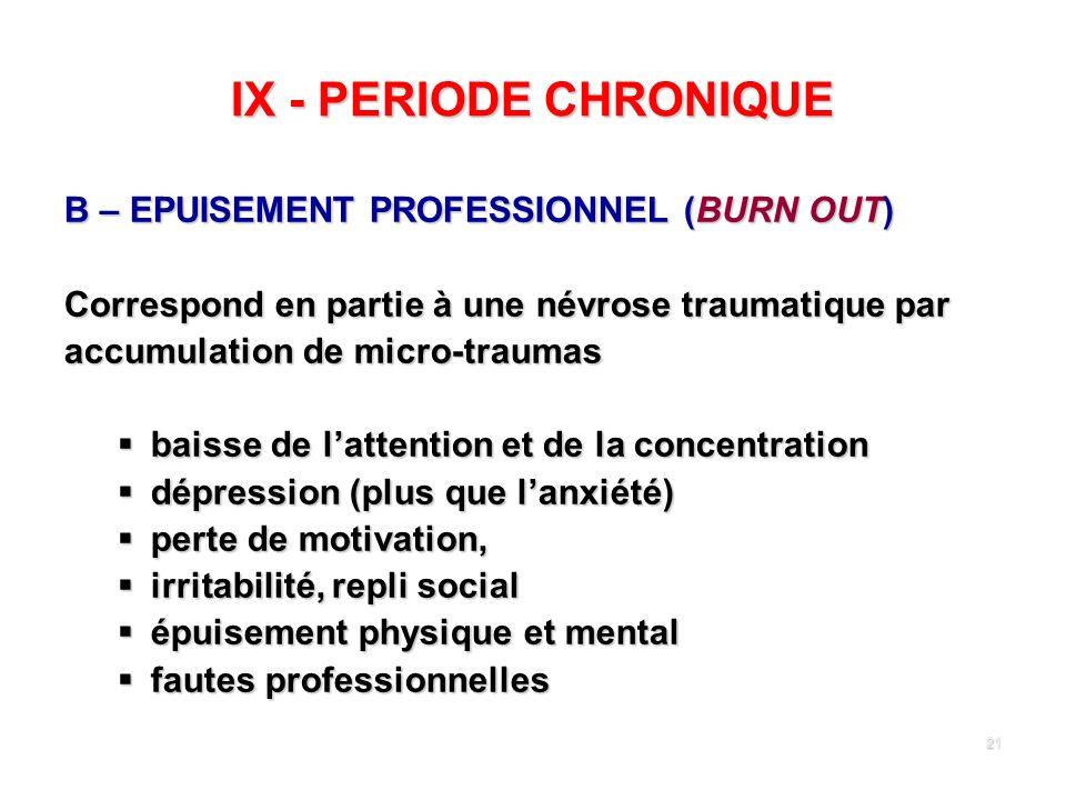 21 IX - PERIODE CHRONIQUE B – EPUISEMENT PROFESSIONNEL (BURN OUT) Correspond en partie à une névrose traumatique par accumulation de micro-traumas bai