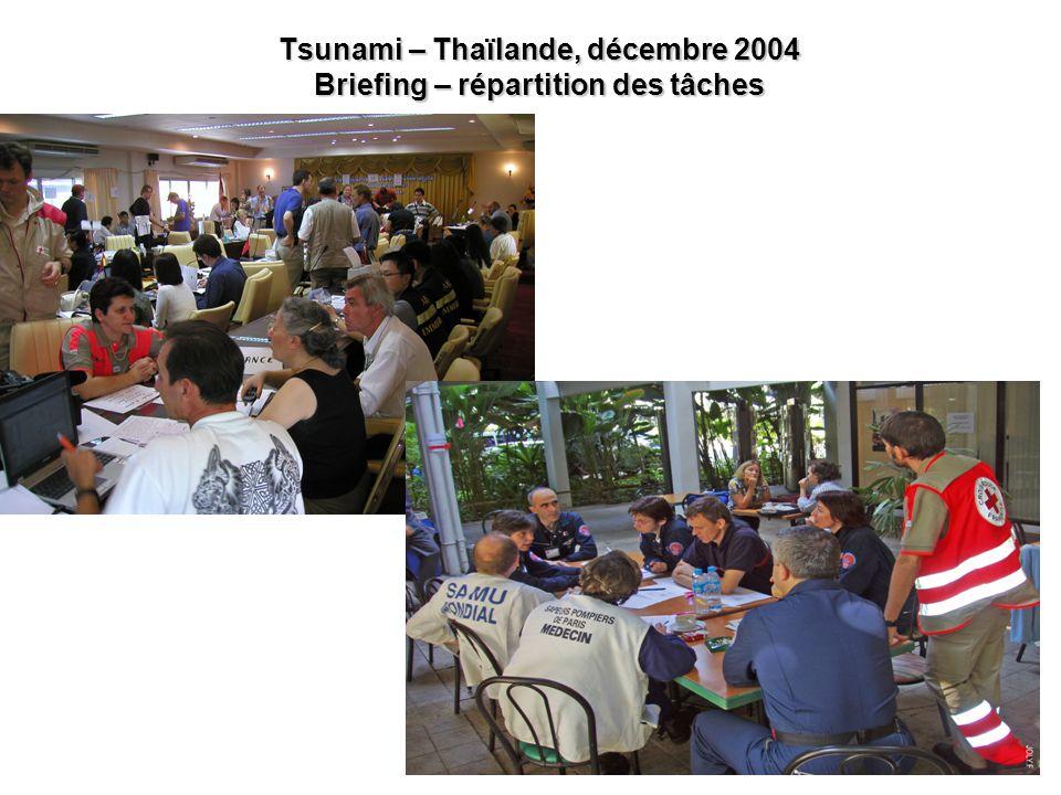 23 Tsunami – Thaïlande, décembre 2004 Briefing – répartition des tâches