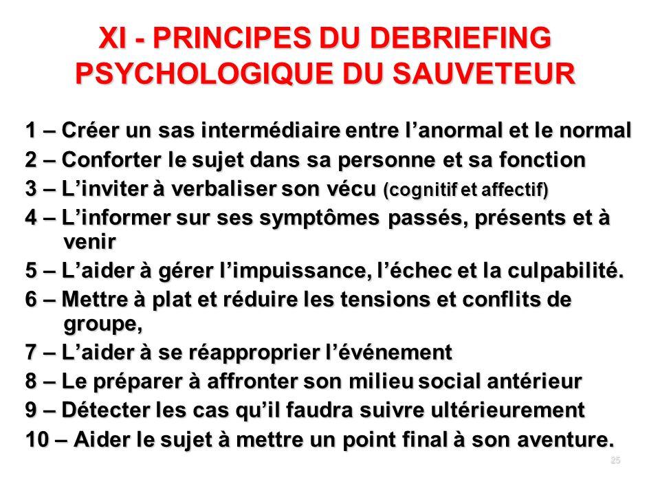 25 XI - PRINCIPES DU DEBRIEFING PSYCHOLOGIQUE DU SAUVETEUR 1 – Créer un sas intermédiaire entre lanormal et le normal 2 – Conforter le sujet dans sa p