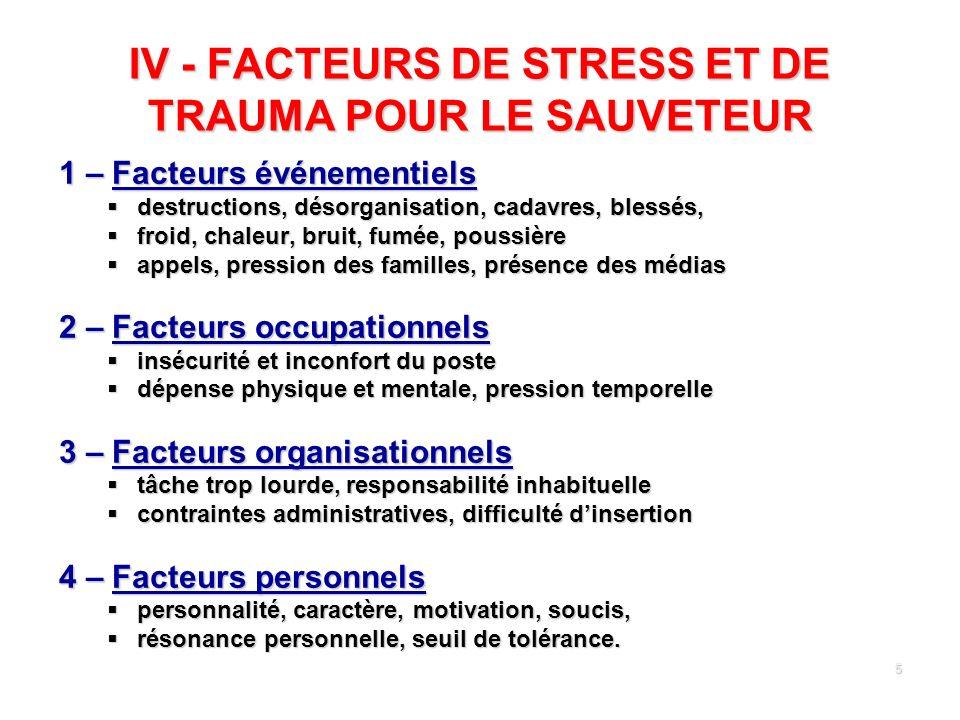 5 IV - FACTEURS DE STRESS ET DE TRAUMA POUR LE SAUVETEUR 1 – Facteurs événementiels destructions, désorganisation, cadavres, blessés, destructions, dé
