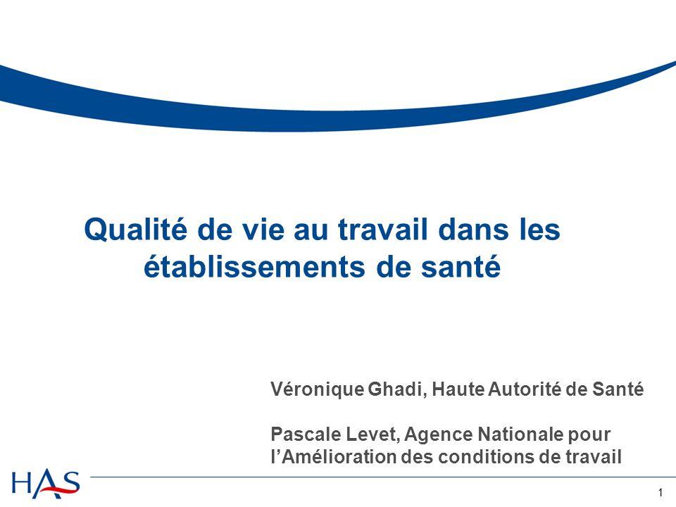 1 Qualité de vie au travail dans les établissements de santé Véronique Ghadi, Haute Autorité de Santé Pascale Levet, Agence Nationale pour lAméliorati