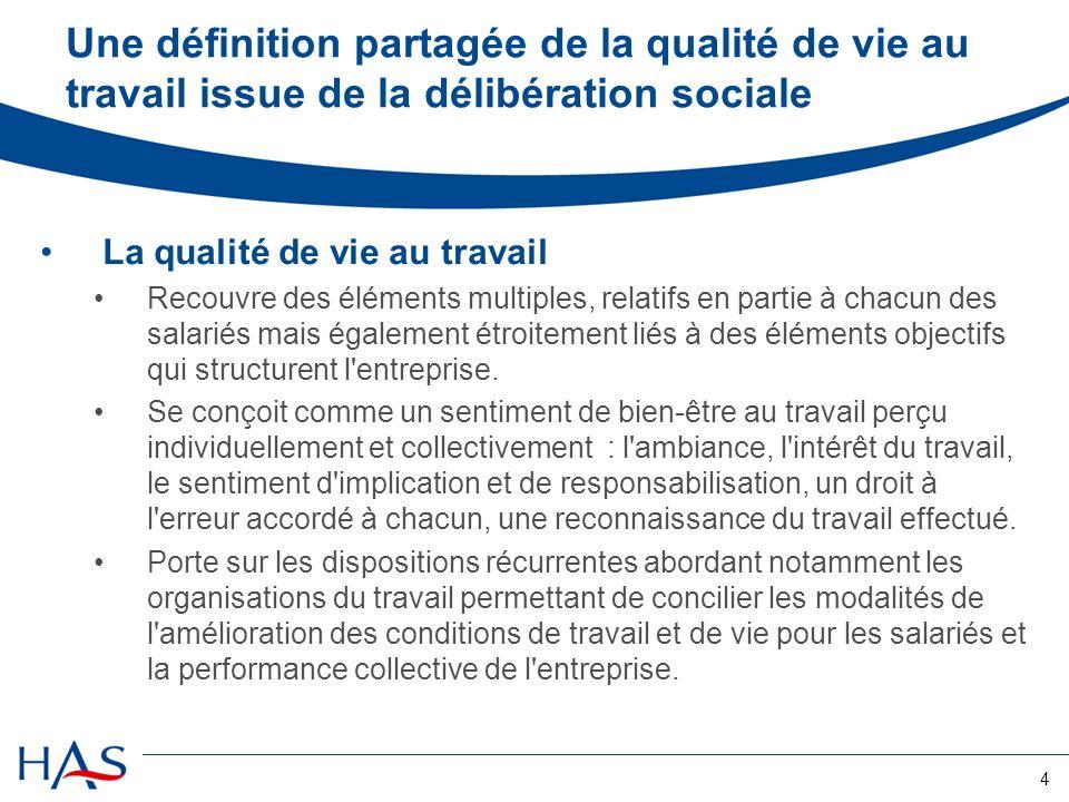 4 Une définition partagée de la qualité de vie au travail issue de la délibération sociale La qualité de vie au travail Recouvre des éléments multiple