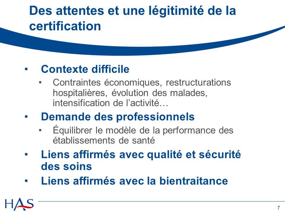 7 Des attentes et une légitimité de la certification Contexte difficile Contraintes économiques, restructurations hospitalières, évolution des malades