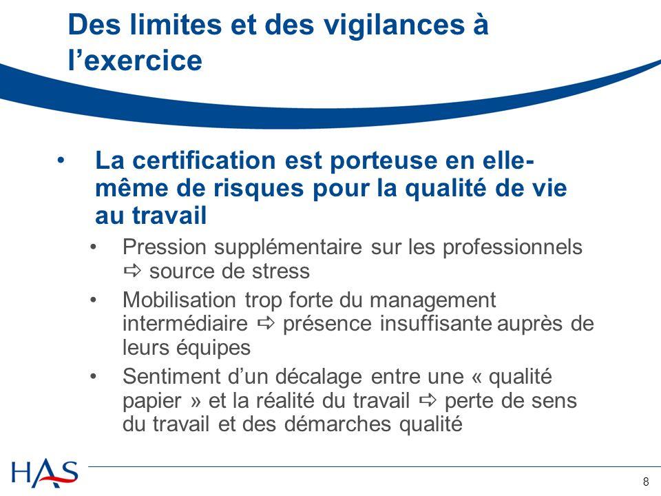 8 Des limites et des vigilances à lexercice La certification est porteuse en elle- même de risques pour la qualité de vie au travail Pression suppléme