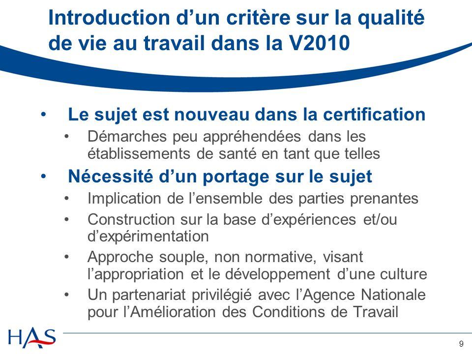 9 Introduction dun critère sur la qualité de vie au travail dans la V2010 Le sujet est nouveau dans la certification Démarches peu appréhendées dans l