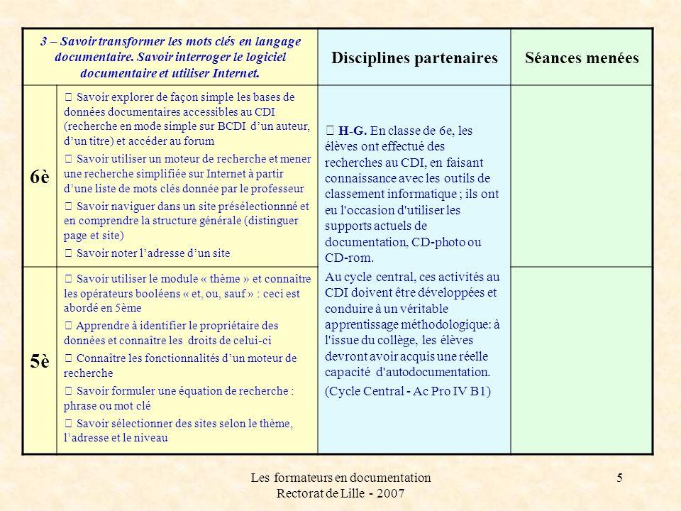 Les formateurs en documentation Rectorat de Lille - 2007 5 3 – Savoir transformer les mots clés en langage documentaire.