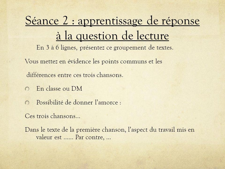 Séance 2 : apprentissage de réponse à la question de lecture En 3 à 6 lignes, présentez ce groupement de textes. Vous mettez en évidence les points co