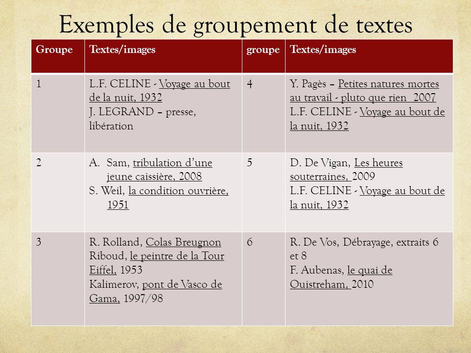 Exemples de groupement de textes GroupeTextes/imagesgroupeTextes/images 1L.F. CELINE - Voyage au bout de la nuit, 1932 J. LEGRAND – presse, libération