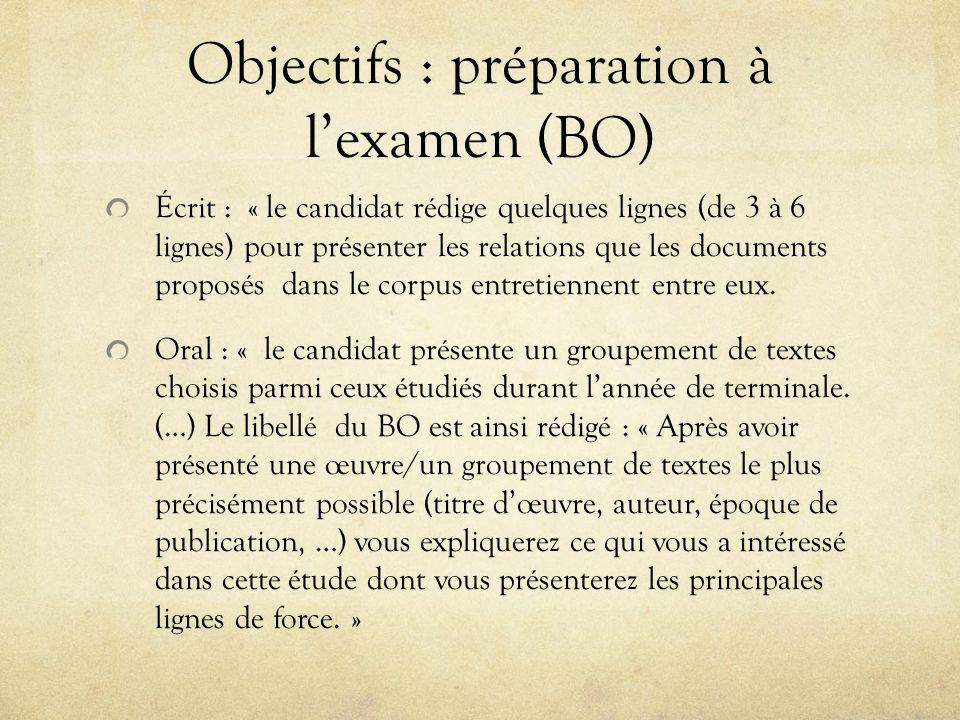 Objectifs : préparation à lexamen (BO) Écrit : « le candidat rédige quelques lignes (de 3 à 6 lignes) pour présenter les relations que les documents p