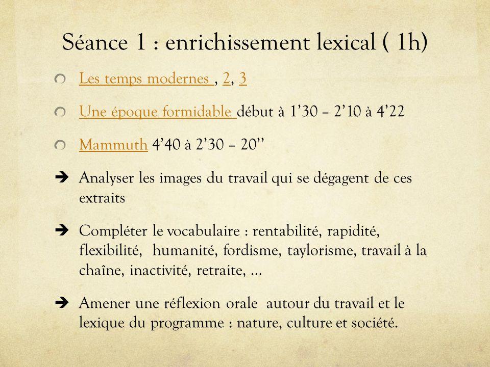Séance 1 : enrichissement lexical ( 1h) Les temps modernes Les temps modernes, 2, 323 Une époque formidable Une époque formidable début à 130 – 210 à