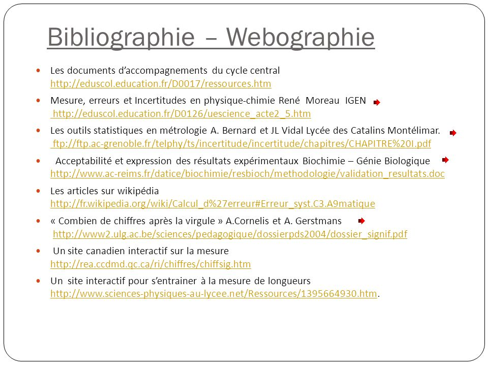 Bibliographie – Webographie Les documents daccompagnements du cycle central http://eduscol.education.fr/D0017/ressources.htm http://eduscol.education.