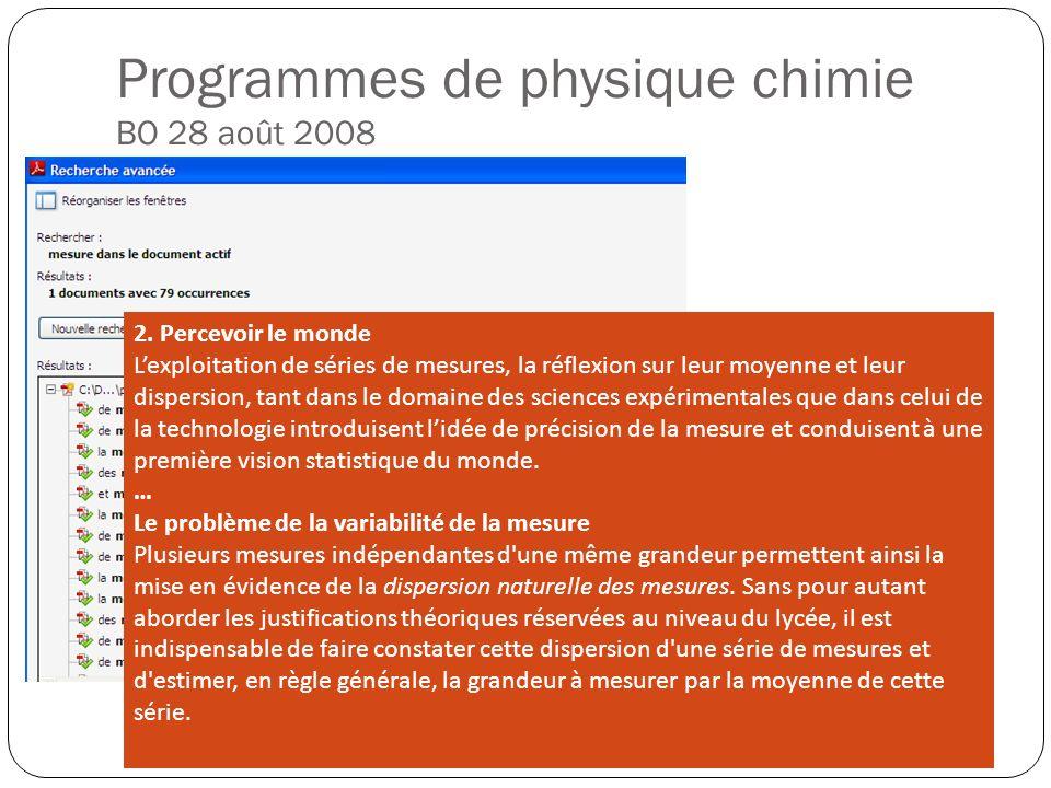 Programmes de physique chimie BO 28 août 2008 Des capacités Lire des mesures de masse et volume (5 ème ) Optimiser les conditions de mesure (5 ème ) A