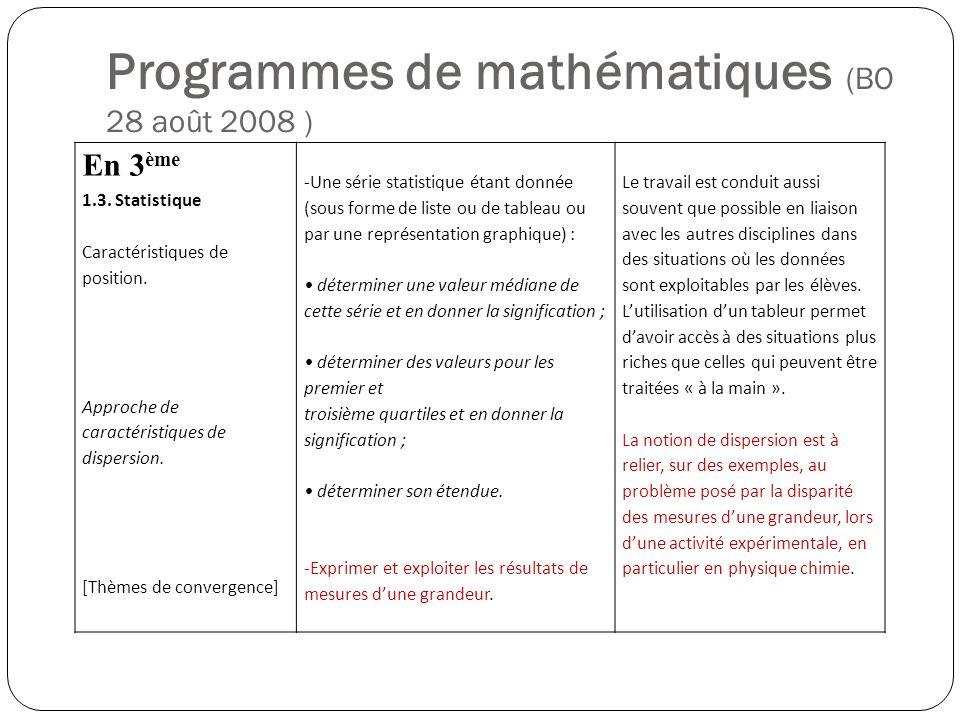 Programmes de mathématiques (BO 28 août 2008 ) En 3 ème 1.3. Statistique Caractéristiques de position. Approche de caractéristiques de dispersion. [Th