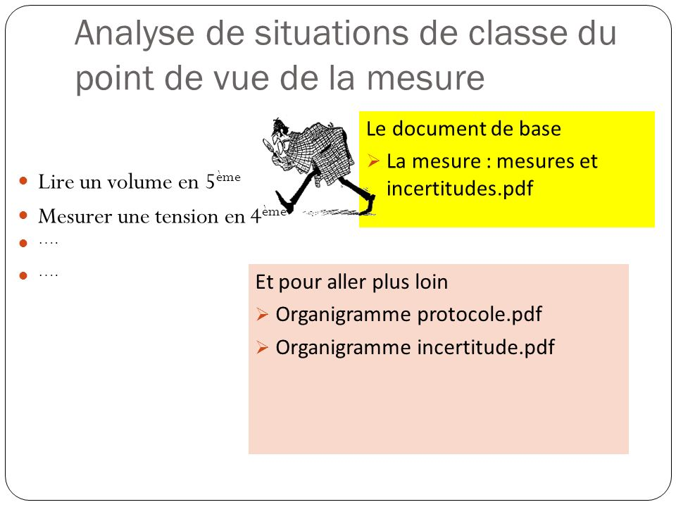 Le document de base La mesure : mesures et incertitudes.pdf Analyse de situations de classe du point de vue de la mesure Lire un volume en 5 ème Mesur