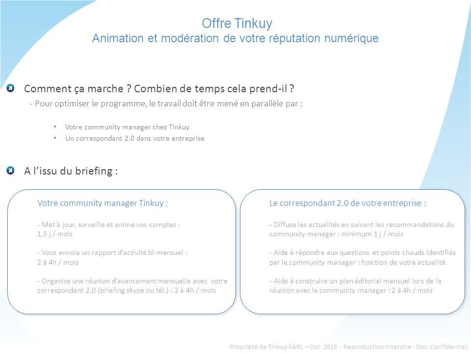 Offre Tinkuy Animation et modération de votre réputation numérique Comment ça marche .