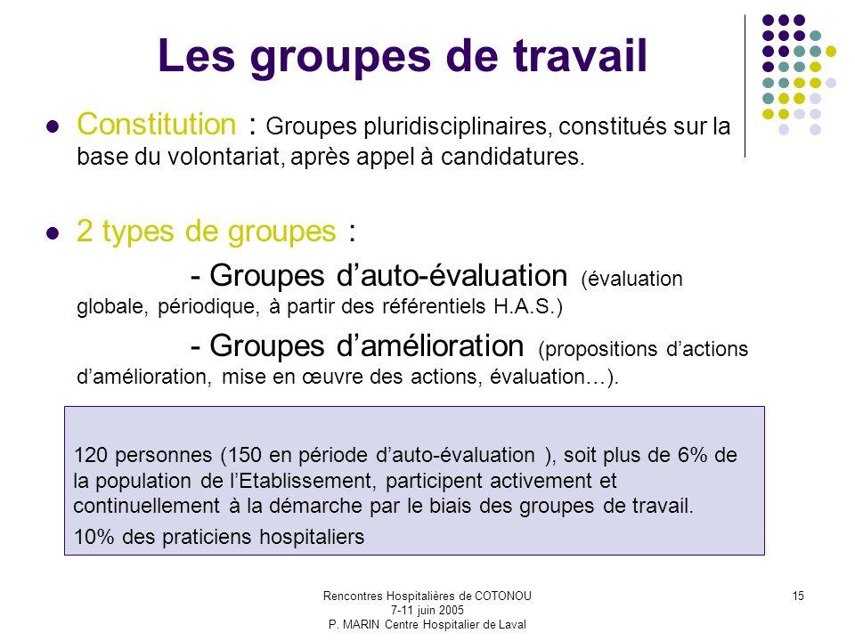 Rencontres Hospitalières de COTONOU 7-11 juin 2005 P. MARIN Centre Hospitalier de Laval 15 Les groupes de travail Constitution : Groupes pluridiscipli