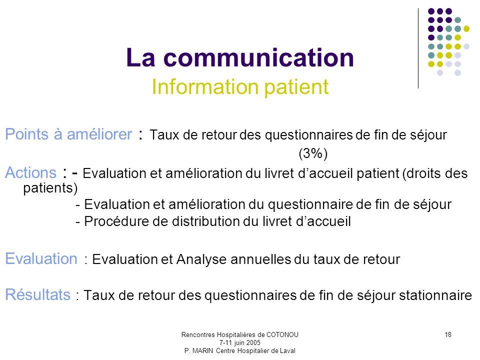 Rencontres Hospitalières de COTONOU 7-11 juin 2005 P. MARIN Centre Hospitalier de Laval 18 La communication Information patient Points à améliorer : T