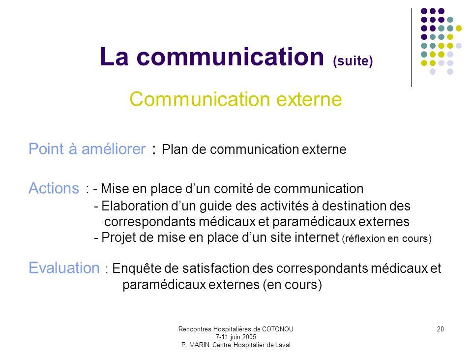 Rencontres Hospitalières de COTONOU 7-11 juin 2005 P. MARIN Centre Hospitalier de Laval 20 La communication (suite) Communication externe Point à amél