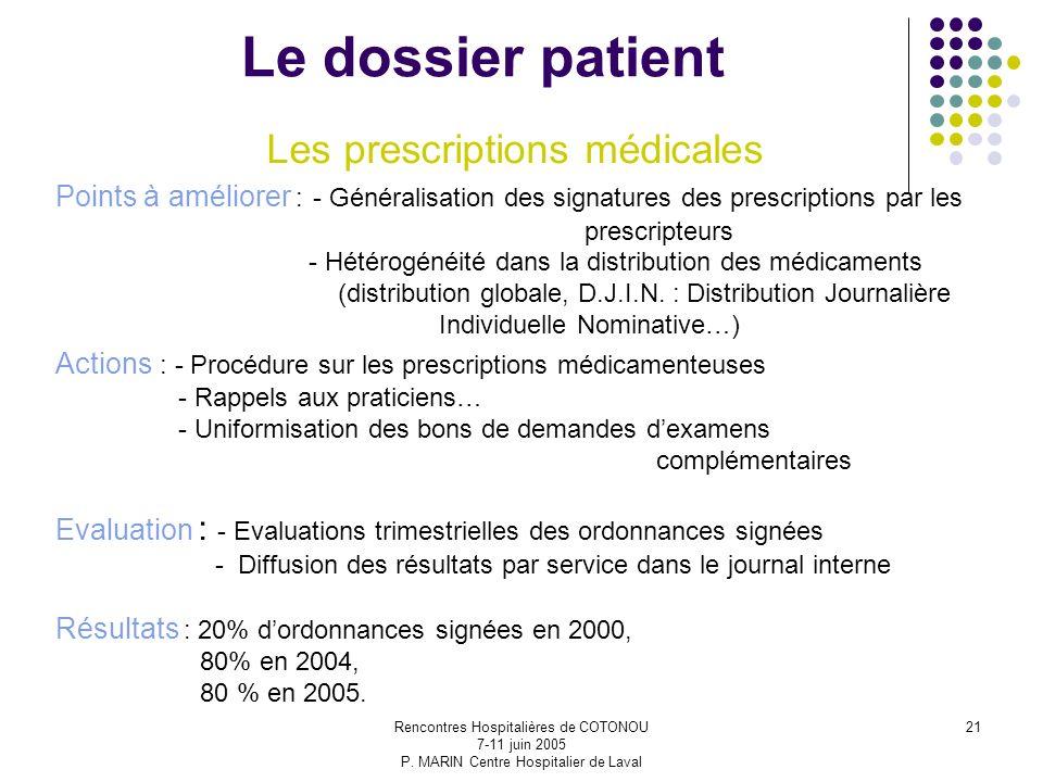 Rencontres Hospitalières de COTONOU 7-11 juin 2005 P. MARIN Centre Hospitalier de Laval 21 Le dossier patient Les prescriptions médicales Points à amé