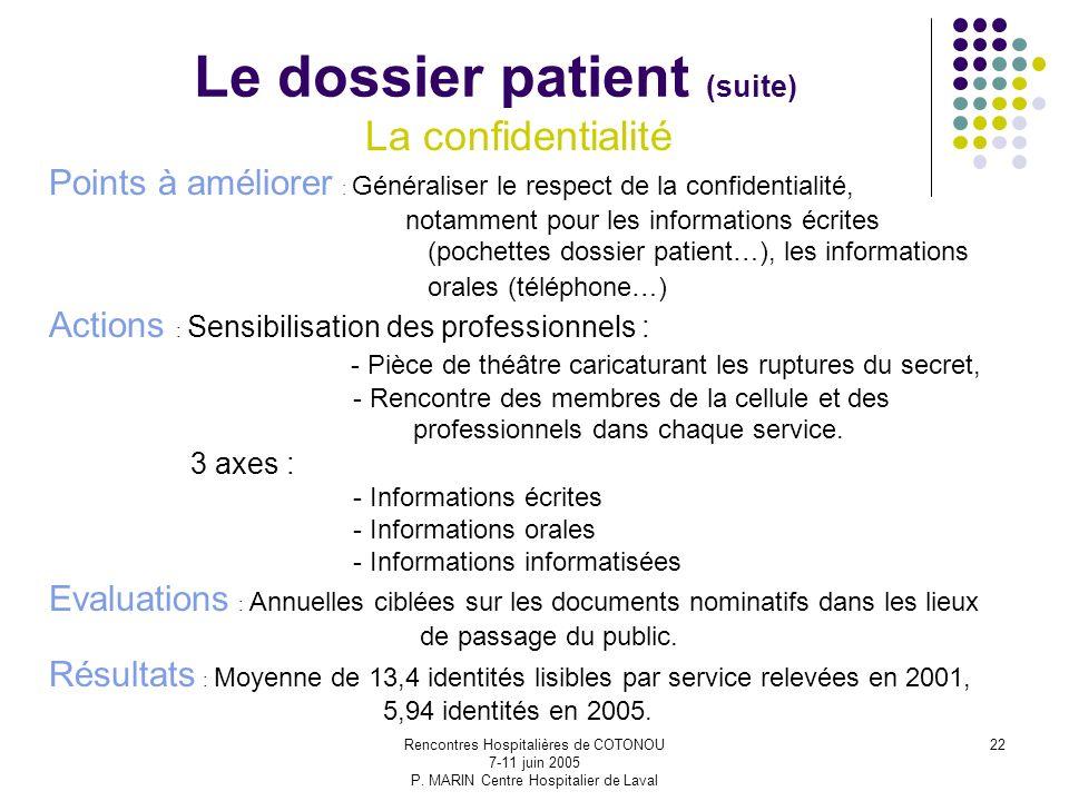 Rencontres Hospitalières de COTONOU 7-11 juin 2005 P. MARIN Centre Hospitalier de Laval 22 Le dossier patient (suite) La confidentialité Points à amél