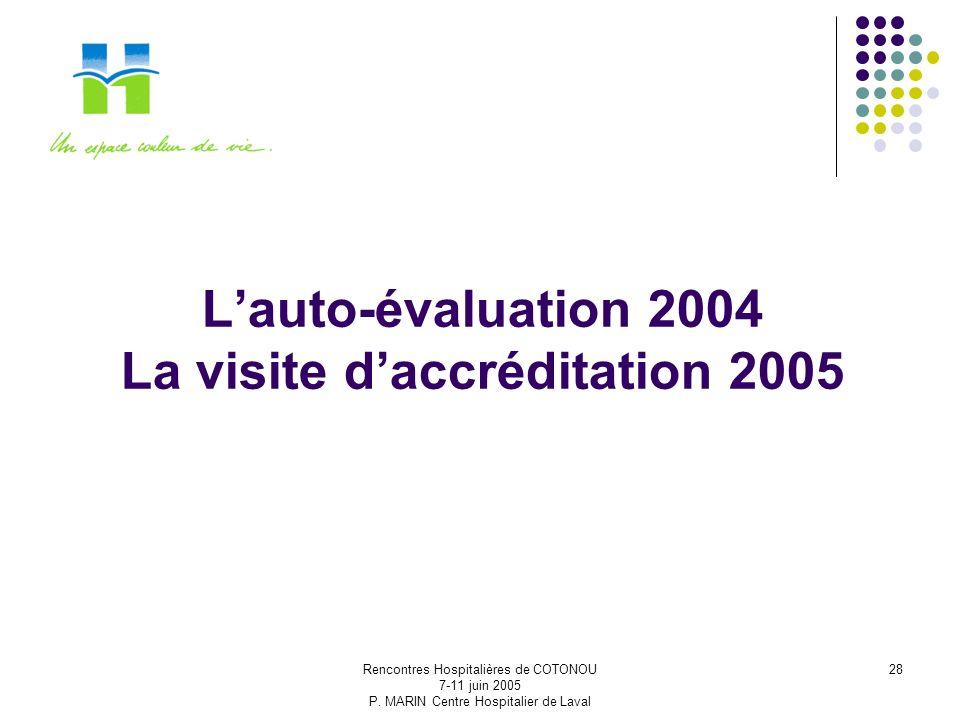 Rencontres Hospitalières de COTONOU 7-11 juin 2005 P. MARIN Centre Hospitalier de Laval 28 Lauto-évaluation 2004 La visite daccréditation 2005