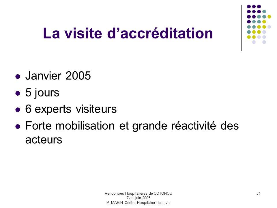 Rencontres Hospitalières de COTONOU 7-11 juin 2005 P. MARIN Centre Hospitalier de Laval 31 La visite daccréditation Janvier 2005 5 jours 6 experts vis