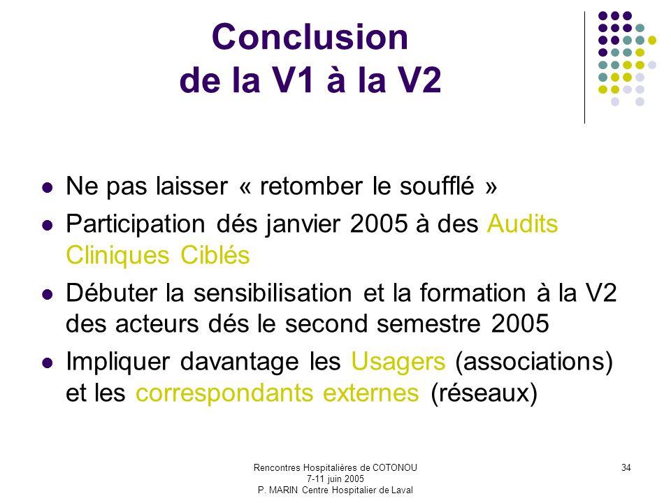 Rencontres Hospitalières de COTONOU 7-11 juin 2005 P. MARIN Centre Hospitalier de Laval 34 Conclusion de la V1 à la V2 Ne pas laisser « retomber le so