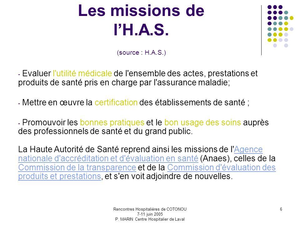 Rencontres Hospitalières de COTONOU 7-11 juin 2005 P. MARIN Centre Hospitalier de Laval 6 Les missions de lH.A.S. (source : H.A.S.) - Evaluer l'utilit
