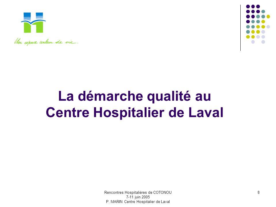 Rencontres Hospitalières de COTONOU 7-11 juin 2005 P. MARIN Centre Hospitalier de Laval 8 La démarche qualité au Centre Hospitalier de Laval