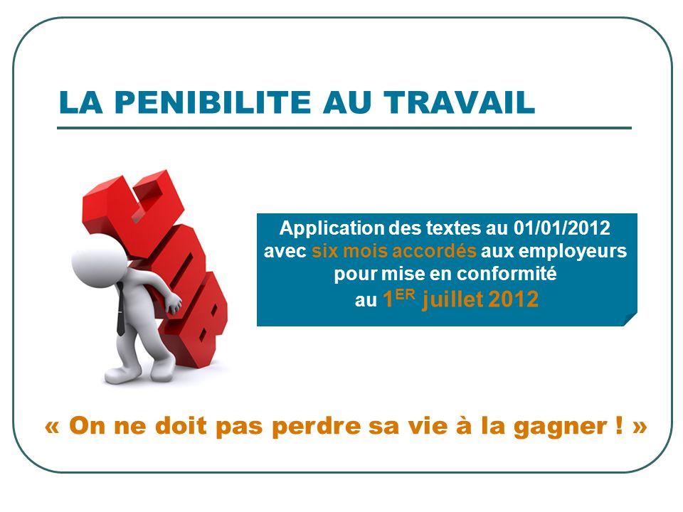 LA PENIBILITE AU TRAVAIL « On ne doit pas perdre sa vie à la gagner ! » Application des textes au 01/01/2012 avec six mois accordés aux employeurs pou