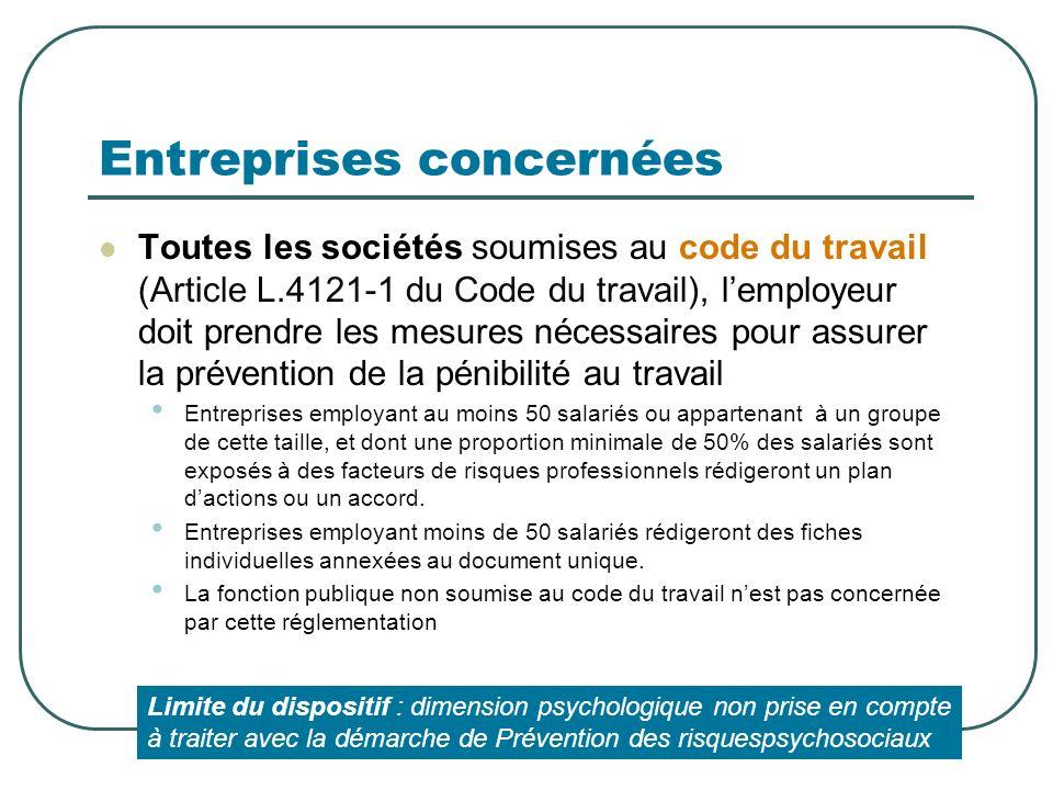 Entreprises concernées Toutes les sociétés soumises au code du travail (Article L.4121-1 du Code du travail), lemployeur doit prendre les mesures néce