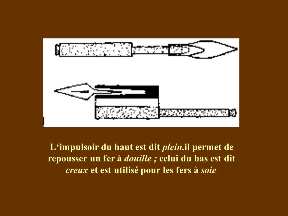 Limpulsoir du haut est dit plein,il permet de repousser un fer à douille ; celui du bas est dit creux et est utilisé pour les fers à soie.
