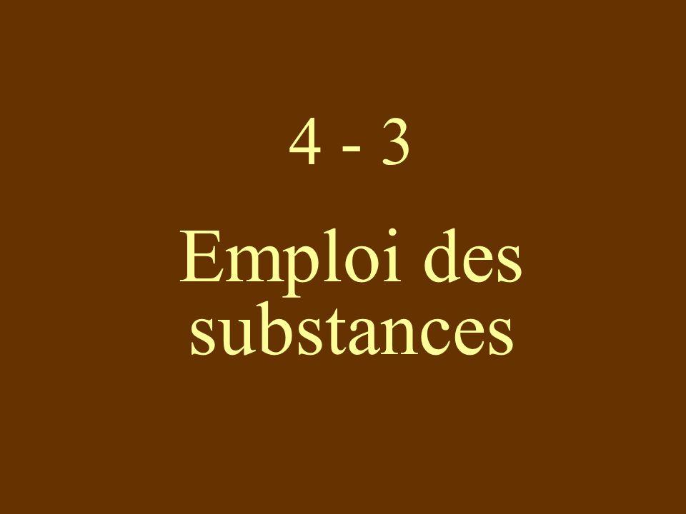 4 - 3 Emploi des substances