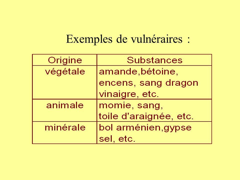Exemples de vulnéraires :