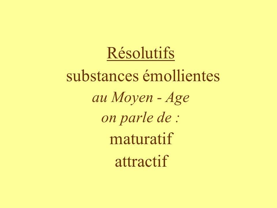 Résolutifs substances émollientes au Moyen - Age on parle de : maturatif attractif
