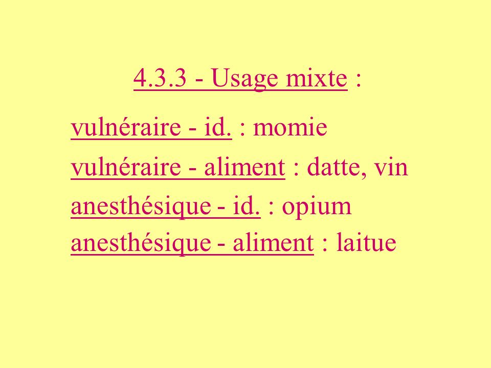 4.3.3 - Usage mixte : vulnéraire - id. : momie vulnéraire - aliment : datte, vin anesthésique - id. : opium anesthésique - aliment : laitue