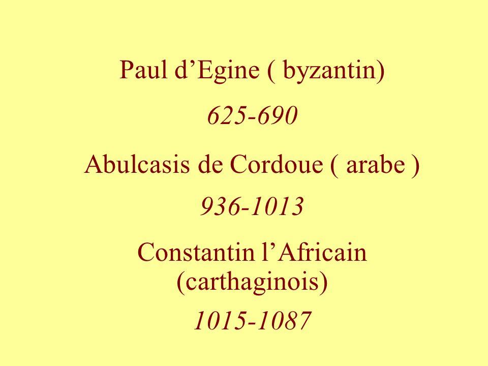 Paul dEgine ( byzantin) 625-690 Abulcasis de Cordoue ( arabe ) 936-1013 Constantin lAfricain (carthaginois) 1015-1087