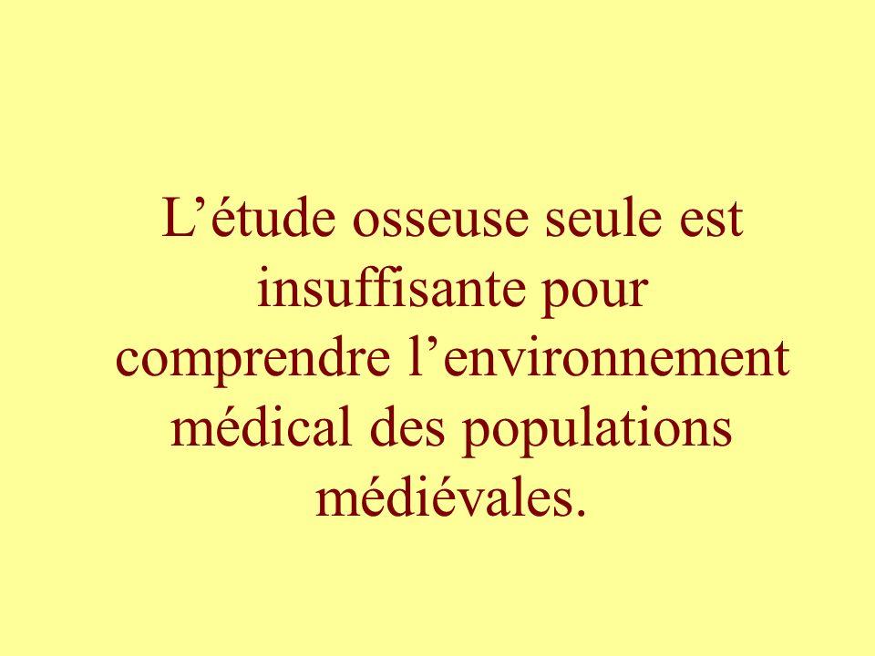 Létude osseuse seule est insuffisante pour comprendre lenvironnement médical des populations médiévales.