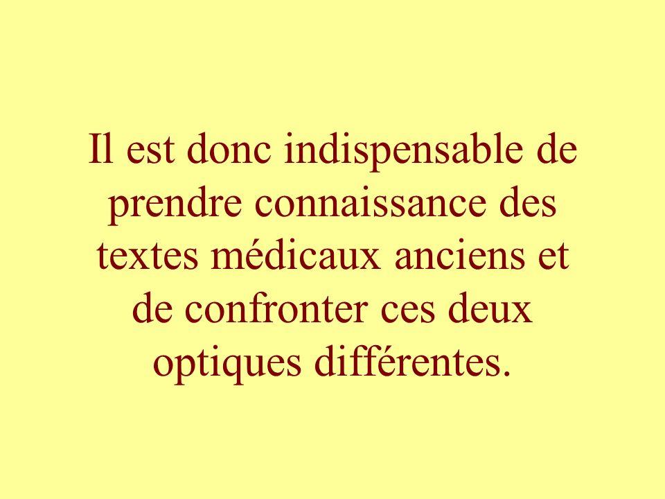 Il est donc indispensable de prendre connaissance des textes médicaux anciens et de confronter ces deux optiques différentes.