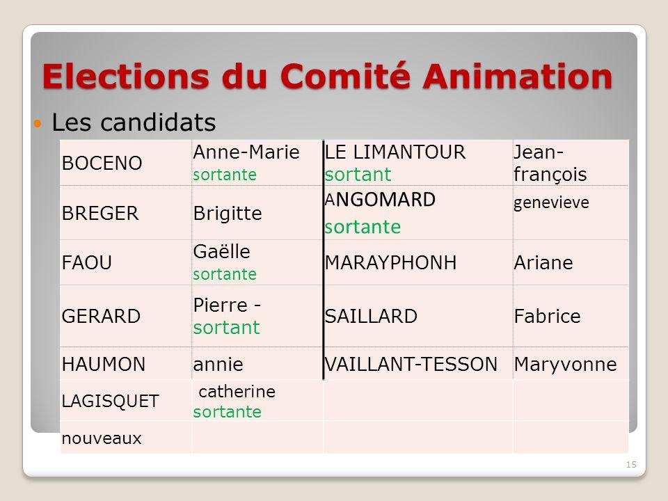 Elections du Comité Animation Les candidats 15 BOCENO Anne-Marie sortante LE LIMANTOUR sortant Jean- françois BREGERBrigitte A NGOMARD sortante genevi