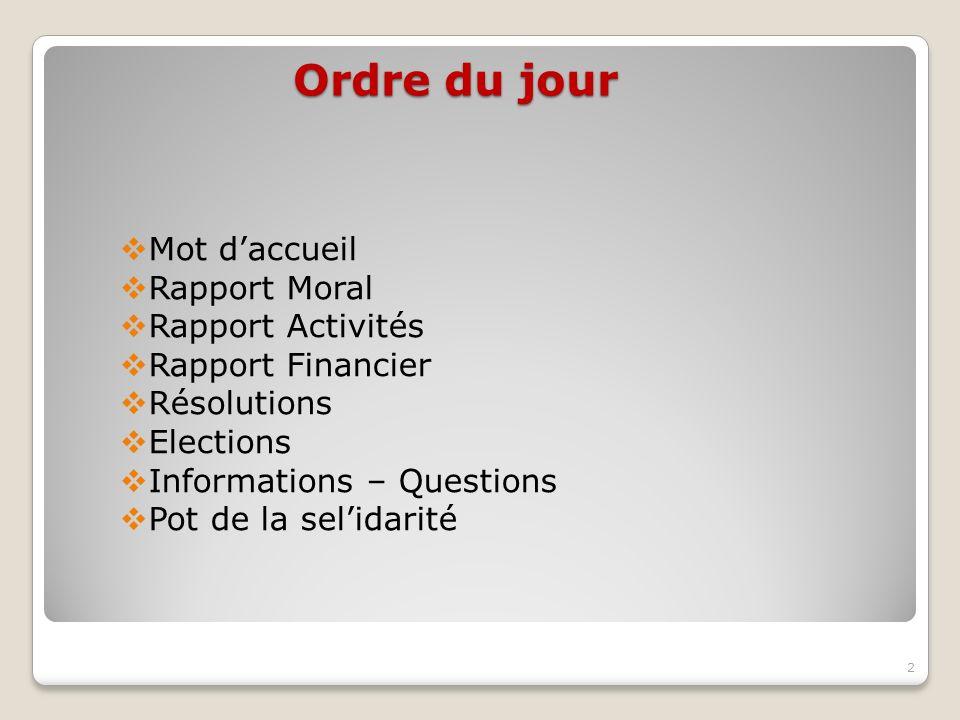 Ordre du jour Mot daccueil Rapport Moral Rapport Activités Rapport Financier Résolutions Elections Informations – Questions Pot de la selidarité 2