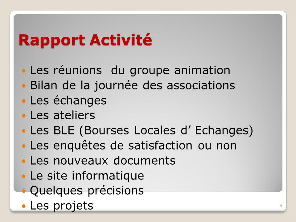 Rapport Activité Les réunions du groupe animation Bilan de la journée des associations Les échanges Les ateliers Les BLE (Bourses Locales d Echanges)
