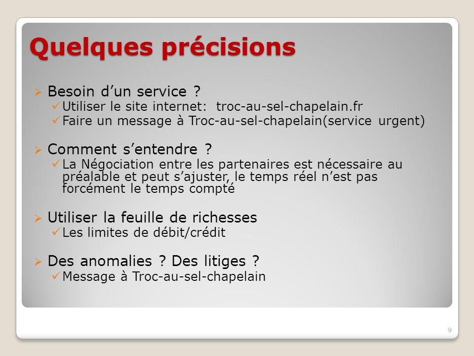 Quelques précisions Besoin dun service ? Utiliser le site internet: troc-au-sel-chapelain.fr Faire un message à Troc-au-sel-chapelain(service urgent)