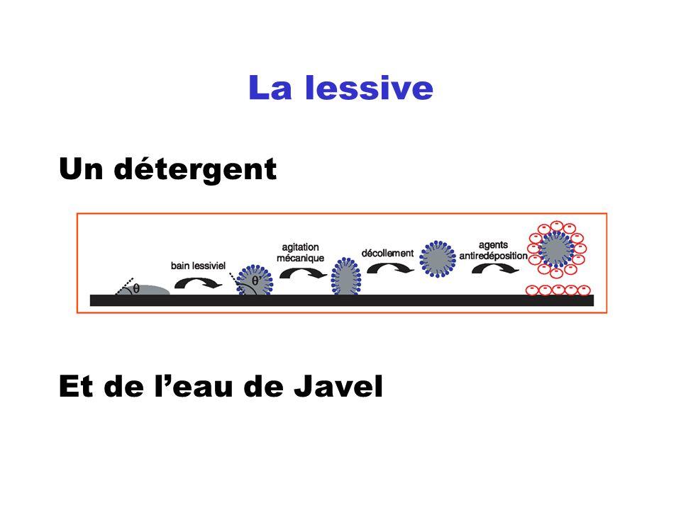 La lessive Un détergent Et de leau de Javel