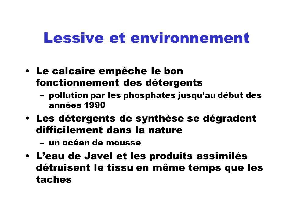Lessive et environnement Le calcaire empêche le bon fonctionnement des détergents –pollution par les phosphates jusquau début des années 1990 Les déte