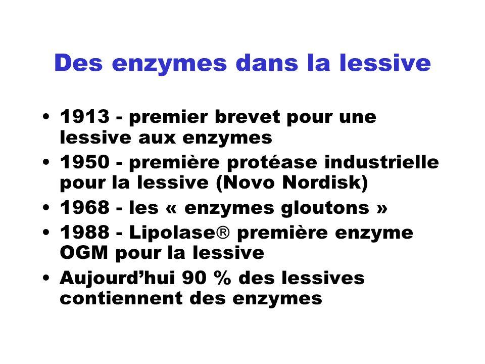 Des enzymes dans la lessive 1913 - premier brevet pour une lessive aux enzymes 1950 - première protéase industrielle pour la lessive (Novo Nordisk) 19