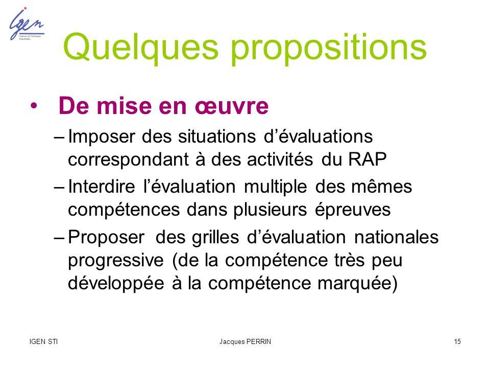 IGEN STIJacques PERRIN15 Quelques propositions De mise en œuvre –Imposer des situations dévaluations correspondant à des activités du RAP –Interdire l