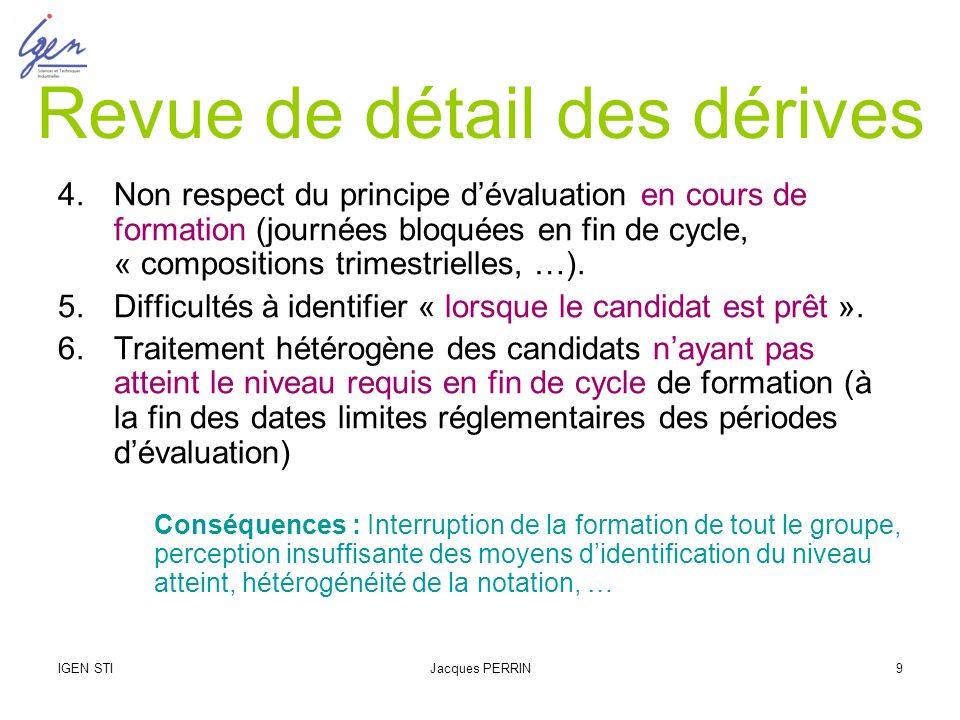 IGEN STIJacques PERRIN9 Revue de détail des dérives 4.Non respect du principe dévaluation en cours de formation (journées bloquées en fin de cycle, «