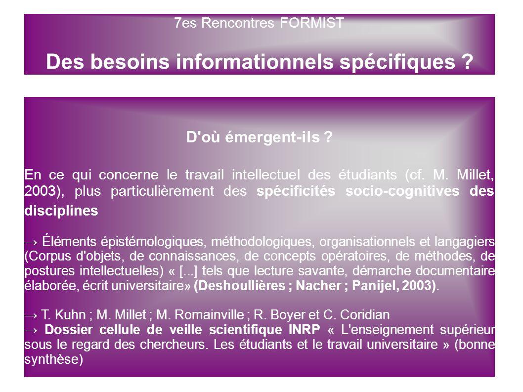 7es Rencontres FORMIST Des besoins informationnels spécifiques ? D'où émergent-ils ? En ce qui concerne le travail intellectuel des étudiants (cf. M.