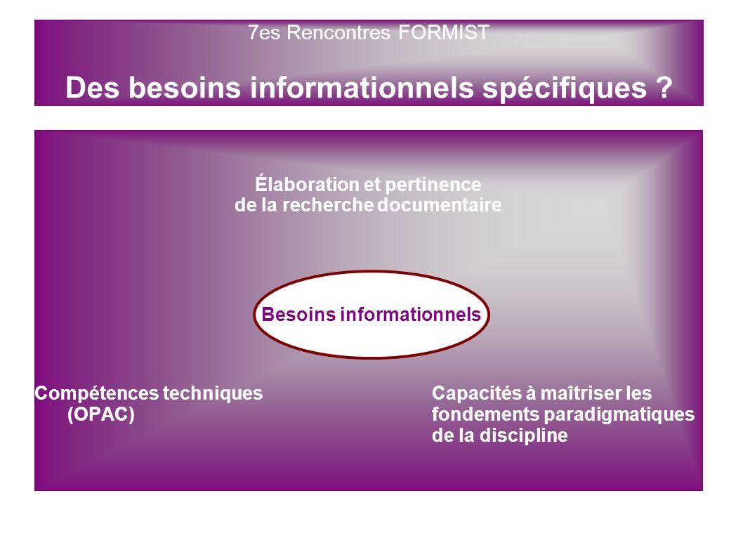 Élaboration et pertinence de la recherche documentaire Compétences techniques Capacités à maîtriser les (OPAC)fondements paradigmatiques de la discipl